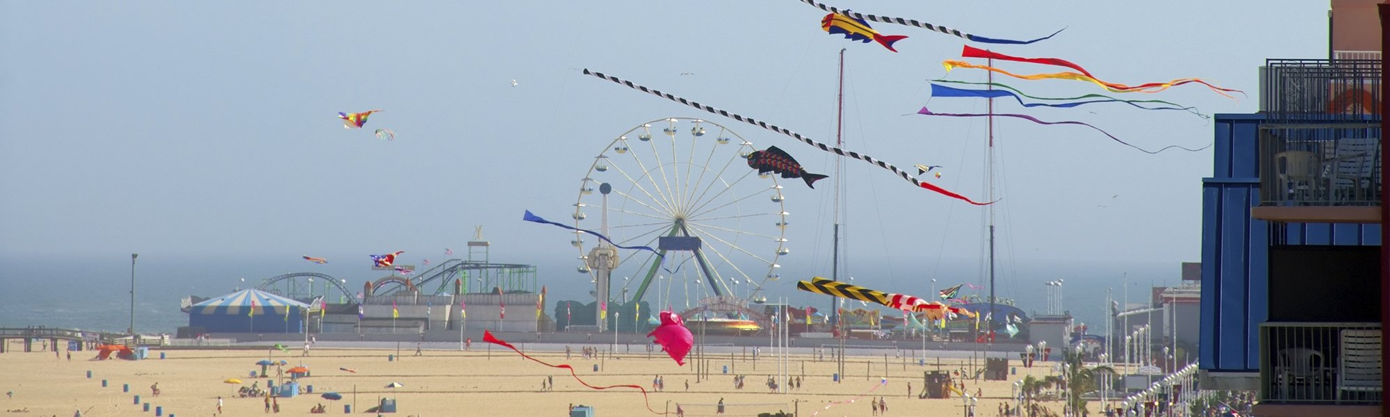 kites flying over ocean city md boardwalk